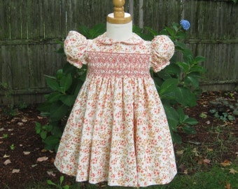 Hand smocked, toddler dress, pink and coral, flowers, size 1T, Ready to ship, belted back, baby girl, Easter dress, OOAK, special occasion