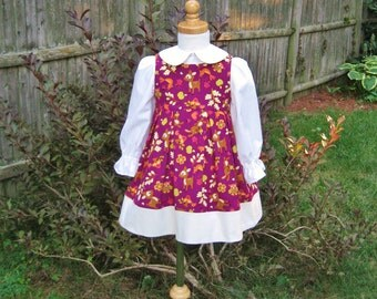 Baby, toddler, corduroy jumper, long sleeve blouse, fuscia & ivory, woodland animals, autumn fall colors, ready to ship, size 1T, whimsical