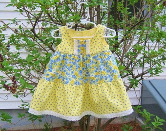 Baby girl summer dress, blue and yellow, Size 6 Mo, sleeveless dress, ready to ship, baby gift, tiered dress, party dress, infant dress