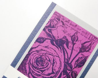 Congratulations Card Blue Greeting Card Blue Silver Fuchsia Card with Large Rose Blank inside card with envelope OOAK greeting card