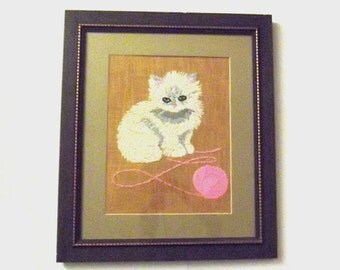 1960s wall hanging / vintage 60s home decor / Large Kitten with Yarn Framed Needlepoint