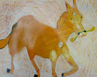EMERY original painting 'horse rides into the storm' expressionism folk  outsider naive raw horse senses life dealings