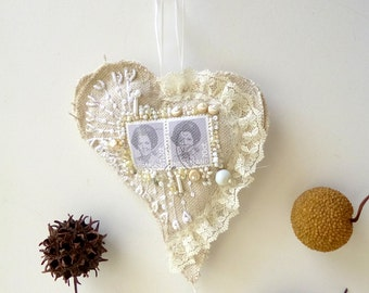 Netherland heart ornament, fiber art cottage chic, bead embroidery as seen in Sew Somerset Magazine summer 2013 issue