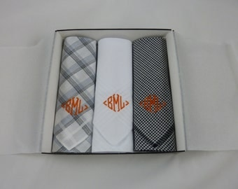Monogrammed Handkerchiefs Men Set of 3 Assorted Black and White