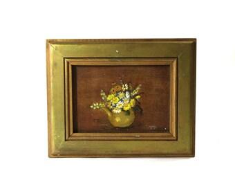 1900s Painting, Floral Still Life, Framed & Signed
