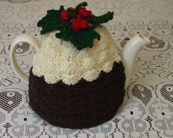 Pattern for 4-6 Cup Crochet Christmas Pudding Tea Cosy (Instant Download)