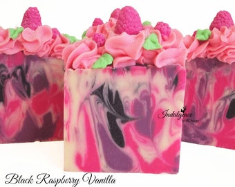 Soap-Black Raspberry Vanilla Artisan Vegan Soap, handmade soap, cold process soap, vegan soap, raspberry soap, black raspberry soap