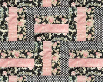 Robyn Pandolph for RJR Fabrics 12 Rail Fence Block PRE-CUT Quilt Kit - World of Romance