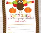 Printable Thanksgiving Invitation Fill in the Blank Instant Download Thanksgiving Holiday Turkey Party PDF Digital File