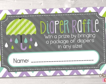 Printable Diaper Raffle Cards Purple & Green Umbrella INSTANT DOWNLOAD PDF
