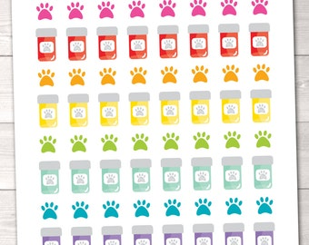 Pet Pill Bottle Printable Planner Stickers Instant Download Printable Pet Paw Print Meds DIY Stickers