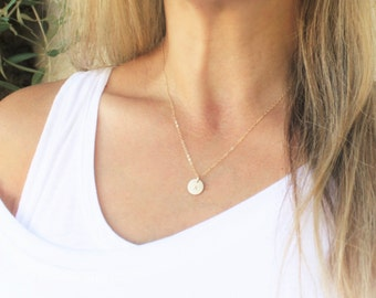 Gold Initial Necklace, Gold Personalized Necklace, Dainty Necklace Simple Gold Necklace Gold Letter Necklace, Delicate Gold Necklace
