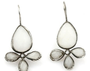 30% Fall Sale White jade Stones Earring