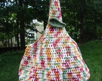 Crochet Cotton Market Bag or Beach Tote Multi Color Fuchsia, Orange, Green, Off White, Crochet Leaf and Ladybug