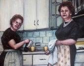 The Freshest Coffee is Always in the Kitchen, Original Painting, Women, Vintage Kitchen, Nostalgia, Aprons, Coffee Pot, Retro, Domestic Life