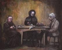 The Black Dinner, Original Painting, Dark Art, Boar's Head, Macabre Art, Black Dog, Dinner Party, Monk, Old Woman, Old Man, Weird,