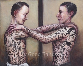 The Men with Fairy Tattoos, Original Painting, Skin, Ink, Portrait, Surreal, Tattoos, Fairies, Fantasy, Retro, Odd, Weird, Human Body