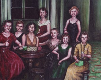 The Office Girls at the Holiday Party, Original Painting, Group Portrait, 1960s, Women, Cocktail Party, Mid-century, History, Red, Green