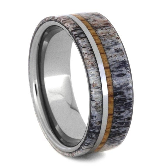 mens tungsten ring deer antler wedding band with by