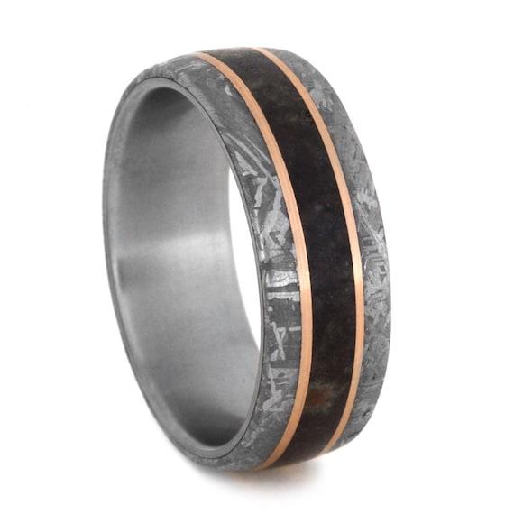 Dinosaur Bone Wedding Band Mens Meteorite Ring By