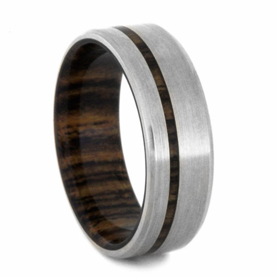 14k White Gold Wedding Band Mens Wood Ring With By