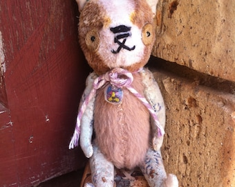 Miniature handmade ooak small Boston terrier dog aged old antique vintage shabby chic bear by artist raggy bears