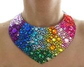 Bright Rainbow Rhinestone Jeweled Statement Necklace, Colorful Rhinestone Bib Necklace, Rainbow Statement Necklace, Rainbow Bib Necklace
