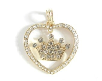 Heart with Linked Crown Pendant Gold-tone Rhinestones