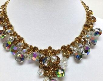 Mid Century AB Vintage Rhinestone Necklace Gorgeous