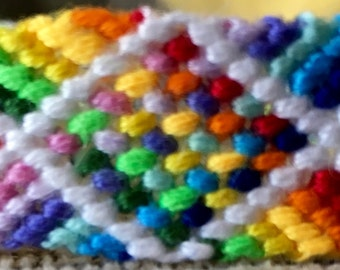 Wide Friendship Bracelet, Rainbow Cotton String Bracelet, Handwoven jewelry, best friends gift, teen jewelry, gift for teen girl, girls