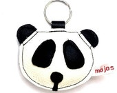 Handmade recycled leather cute panda keychain keyring bagtag gift FREE SHIPPING