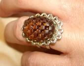 vintage rootbeer basketweave cabochon floral silver ring adjustable size