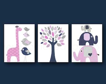 Navy Pink Gray Nursery decor Giraffe elephant nursery Room decor Baby Girl Nursery art tree Kids room - Set of 3 Prints