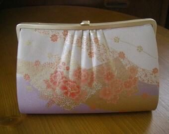 Vintage Japanese kimono purse(flower,gold)