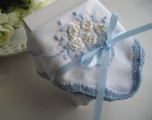 Silk Ribbon Embroidered Handkerchief Something Blue Bouquet Wrap Memento For Any Occasion Mother of the Bride Handmade Ready To Ship