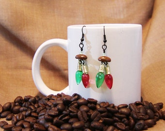 Christmas Lights...Authentic Fair Trade Coffee Bean Earrings .. FREE SHIPPING