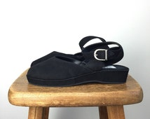 Vintage ESPRIT Shoes • 1990s Women Flats • Size 6.5 Black Babydoll Platform 90s Leather Low Flatform Chunky Ankle Buckle Strap Cut Out