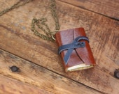 """Brown Leather Mini Book necklace with blue strap by Binding Bee / Nickle Free 18"""" chain/ Gift box"""