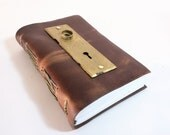 Knock: Leather Journal with Sketch paper and an antique door plate by Binding Bee
