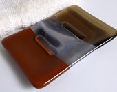 Fused Glass Soap Dish in Shades of Brown by BPRDesigns