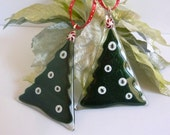 Fused Glass Large Dark Green Christmas Tree Ornament