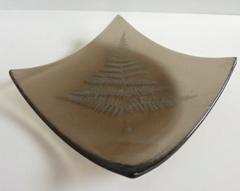 Fossil Vitra Fused Glass Fern Plate in Bronze Recycled Glass