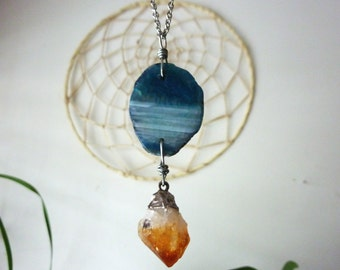Agate + Citrine Necklace. Metaphysical Jewelry. One of a Kind