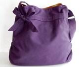 Sale - Deep purple Canvas Bag, tote, handbag, purse, bow, Cross body, unique - Dessert