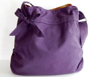 Sale - Deep purple Canvas Bag, tote, handbag, purse, bow, Cross body, unique - Dessert