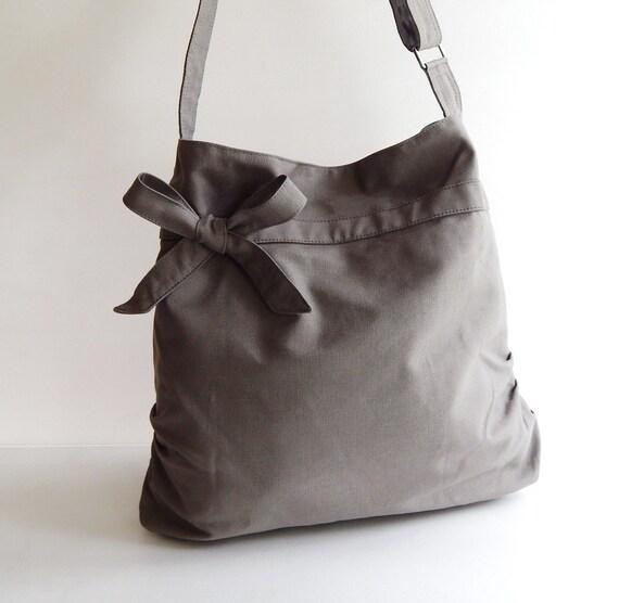 Sale - Grey Canvas Bag, tote, handbag, purse, bow, Cross body, unique - Dessert