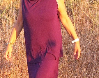 Dress - Geraldine - Eggplant  - Cotton Tube - layered Tunic / Dress by Kathrin Kneidl