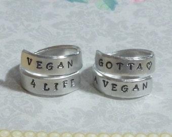 Vegan Hand Stamped Aluminum Wrap Ring - Vegan Ring - Vegan 4 Life Ring - Gotta Love a Vegan Ring - Vegan Jewelry