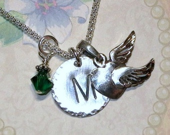 Heart with Wings Necklace, Personalized Heart with Wings Hand Stamped Sterling Silver Initial Charm Necklace
