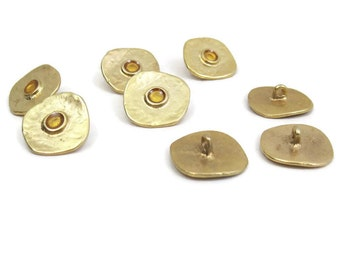 Vintage 80s Buttons Pale Gold Metal Enamel Organic Irregular Shape lot of 8